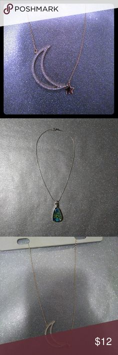 NWT Urban Outfitters Celestial Necklace Stone encrusted moon attached to a star & gold chain. Urban Outfitters Jewelry Necklaces