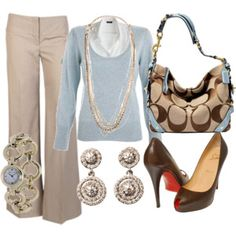 like the powder blue with the browns find more women fashion on www.misspool.com