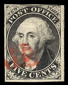 """USA Postmaster Issues - 1845 5c black on bluish, without signature, red """"Paid"""" cancel, full margins all around to just clear at upper right, fine, with graded (F-VF 75) 2008 PSE cert., (Catalog value $ 950)    Dealer  Cherrystone Auction    Auction  Estimate price:  450.00US$"""