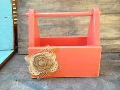 Rustic Distressed Coral Flower Girl Basket or Wedding Cards Basket Coral Wedding Decor on Etsy, $22.00
