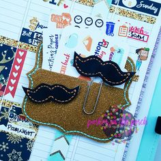Digital Download - Mustache Planner Clip & Feltie Sset - Parker on the Porch