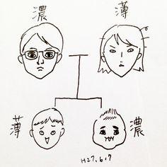 いいね!455件、コメント20件 ― カフカ ヤマモトさん(@cafca_yamamoto)のInstagramアカウント: 「遺伝子の妙。 (旦那似てねぇ) #落書き#モノクロ#育児絵日記#赤ちゃん#絵日記#しょうゆ#ソース#遺伝子#3歳児#イラスト」