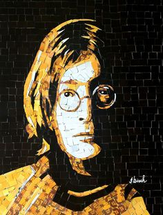 A portrait of John Lennon created by MetroCard artist Nina Boesch New York Landmarks, Art Sites, Arte Pop, Subway Art, John Lennon, Mosaic Art, Graphic, Art Education, Mixed Media Art