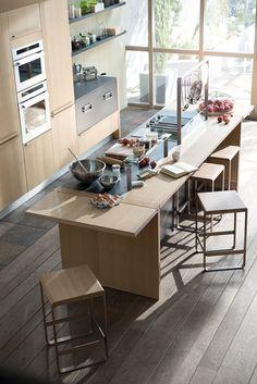 belle cuisine Thibault Delsombre pour Arthur Bonnet  Atelier et convivialité  chêne, aspect pierre, inox  cuisine design, cuisine en îlot