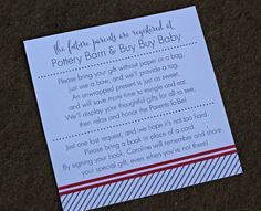 Baby Shower Card insert