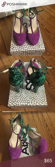 ABS SUEDE PURPLE GREEN BLACK HEELS SZ9 Brand new in box never worn SZ 9 ABS Allen Schwartz Shoes Heels