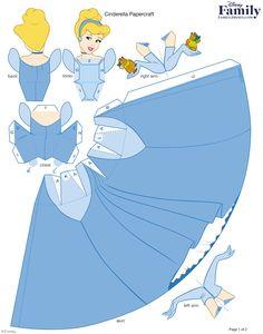 Princesas Disney 3 D Moldes Paper Craft 3d Paper Crafts, Paper Crafts For Kids, Paper Toys, Paper Crafting, Paper Art, Diy And Crafts, Fun Crafts, Cinderella Birthday, Disney Princess Cinderella