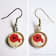 Remembrance Poppy Glass Silver or Gold Plate Earrings Surgical Steel Earwires