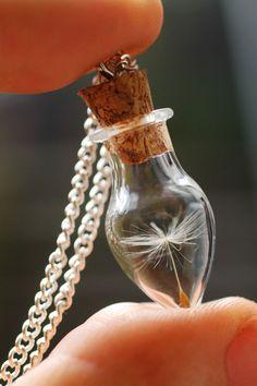 Real dandelion necklace, Dandelion seeds, make a wish, Wish bottle, botanical specimen, nostalgic gift, good luck charm, gift for bride - pr...