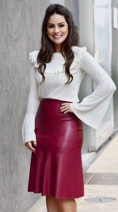 [New] The Best Fashion (with Pictures) This is the 10 best fashion today. According to fashion experts, the 10 all-time best fashion right now is. Classy Outfits, Sexy Outfits, Fashion Outfits, Womens Fashion, Sexy Skirt, Dress Skirt, Long Leather Skirt, Leather Peplum, Red Leather