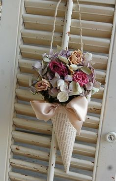 French Book Page Cone with Dried Flowers by roseflower48 on Etsy. $17.00, via Etsy.
