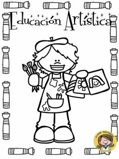 Pin by Jessica Alejandra on matemática Classroom Labels, Classroom Posters, Art Classroom, School Frame, Art School, Colouring Pages, Coloring Books, Baby Art Crafts, Folder Organization