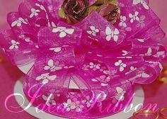 "7/8"" 25yard Fuchsia Sheer Organza  with Butterfly printed Gift Ribbon"