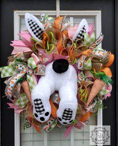 easter decor deluxe bunny wreath bunny door hanger bunny decor Cute Bunny Wreath the door charm