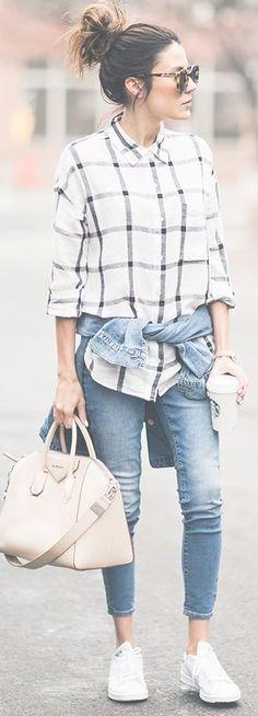 White Plaid Button Down |Distressed Denim Jacket | Jeans | Nude Handbag | White Sneakers |Shades of Blue Pre Spring Winter Street Style | Hello Fashion #white