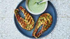 Grilled Salmon Steaks with Garlicky Yogurt Sauce Recipe | Bon Appetit