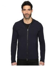 John Varvatos Star U.S.A. Long Sleeve Zip-Front Knit Hoodie w/ Leather Trim Details and Elbow Patches K2847S3L (Marine) Men's Sweatshirt
