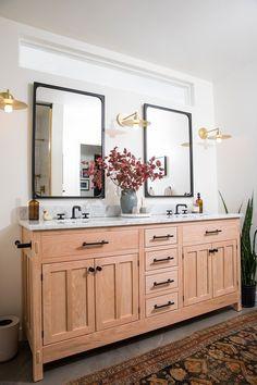 One Room Challenge ~ Week 6 Reveal Tub Shower Combo, Shower Tub, Small Bathroom, Master Bathroom, Bathroom Ideas, Bathrooms, Lake Bathroom, Bathroom Wall Lights, Mirror Bathroom