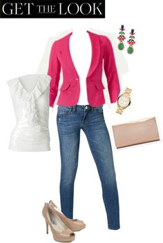 """""""CAbi Spring'13: Get the look.... the Power Pink Blazer, Ruby Jeans and Knife Pleat Tank.  I love to cuff the jeans!"""