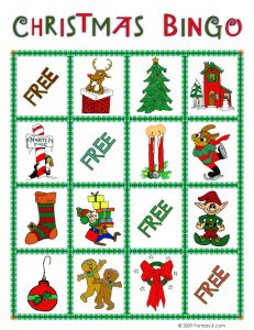 Free printable Christmas picture bingo game for kids  -  Bingo for other holidays at this site