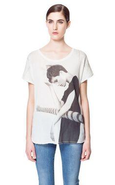 PRINTED VELOUR T-SHIRT - T-shirts - Woman - ZARA United States