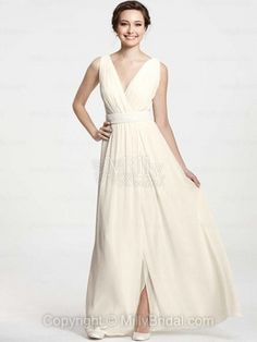 A-line V-neck Chiffon Ankle-length Ivory Sashes / Ribbons Wedding Dresses at Millybridal.com