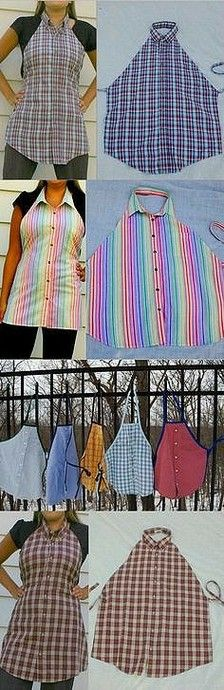 Schürze aus Herrenhemd Mehr ideas for men fun Turn Your Old Shirt into a Fancy Looking Apron - DIY - AllDayChic Sewing Hacks, Sewing Crafts, Sewing Projects, Knitting Projects, Diy Crafts, Upcycled Crafts, Recycled Art, Repurposed, Art Projects
