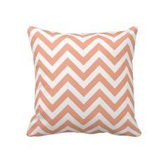 Peach Chevron Lumbar Pillow by wrkdesigns