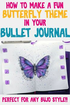 How to make a fun butterfly theme in your bullet journal. Perfect for any bujo style! Get great bullet journal inspiration and setup ideas for your next bullet journal layout. Beautiful planner doodles and bullet journal art you have to try next month. Bullet Journal Work, Bullet Journal For Beginners, Bullet Journal How To Start A, Bullet Journal Layout, Journal Art, Bullet Journals, Journal Ideas, Journal Fonts, Journal Prompts
