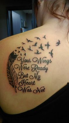 Love this Tatoo! I've seen the feather and birds Tatoo before, but I love the saying! Feather Tattoos, Love Tattoos, Beautiful Tattoos, Body Art Tattoos, Small Tattoos, Temporary Tattoos, Tatoos, Memory Tattoos, Rip Tattoos For Mom