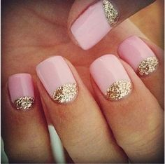 Show Me Your Wedding Nails (or what you plan to do)! : wedding bridal nails french manicure gel manicure lace nails manicure nail art nails wedding nails Pale Pink Nails With Glitter pretty with white nail Love Nails, Pretty Nails, Gorgeous Nails, Dream Nails, Fabulous Nails, Gold Glitter Nails, Gold Sparkle, Sparkly Nails, Pink Sparkly