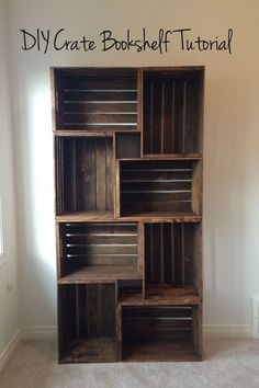 Neat idea for bookcase, on its side gives more tabletop use DIY Crate Bookshelf - CountryLiving.com