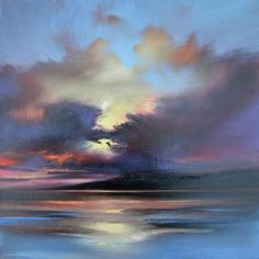 """crossconnectmag: """" Scottish Landscape Artist: Scott Naismith """"After 10 years of painting the Scottish landscape, my recent work now becomes more involved with cloudcover and its effect on light and. Sky Painting, Seascape Paintings, Art Paintings, Landscape Art, Landscape Paintings, Painting Inspiration, Watercolor Paintings, Acrylic Paintings, Art Projects"""