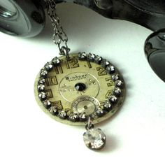 Victorian watch dial with rhinestones by Mystic Pieces