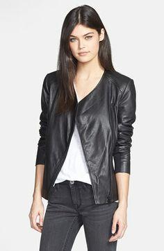 Trouvé Collarless Leather Jacket - BLACK - Size Large - $298 @ Norstrom