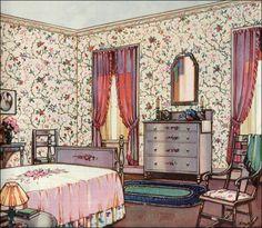 1924 Floral Bedroom - Design Inspiration from 20s