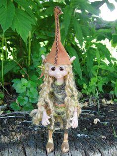 "OOAK Handmade Polymer Clay Poseable Woodland Elf, Elfin, Pixie ""Goldie"" Fantasy Art Doll. $48.00, via Etsy."