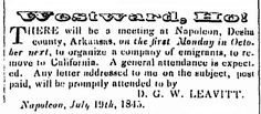 "An 1845 newspaper ad urging westward migration, published in the Arkansas Weekly Gazette (Little Rock, Arkansas), 29 September 1845. Read more on the GenealogyBank blog: ""Old Newspaper Ads, Your Immigrant Ancestors & U.S. Migrations."" http://blog.genealogybank.com/old-newspaper-ads-your-immigrant-ancestors-u-s-migrations.html"