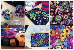 colorful collages on black felt- at Garden Gate Child Development Center