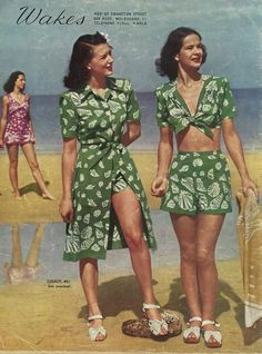 """Wakes"" catalogue, spring-summer 1947 beach wear shorts playsuit skirt shirt blouse bandeau tie top bandana green white post war swing late 40s shoes hair summer"