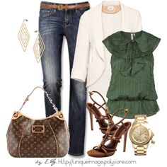 *OLIVE GREEN TOP RUNCHED WITH BROWN BOOTS or SANDALS or WITH JEAN SHORTS BROWN BELT   *OR USE DARK ORANGE SANDALS AND BELT OR KHAKI PANTS WITH CREAM BLAZER/SHORTS TOO!