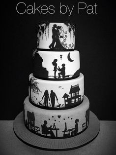 Wedding Cake Red, Wedding Cake Photos, Wedding Cake Designs, Dream Wedding, Beautiful Birthday Cakes, Gorgeous Cakes, Pretty Cakes, Amazing Cakes, Silhouette Cake