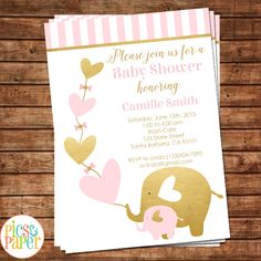Pink Gold Elephant—Invitation