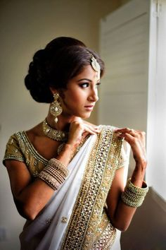 white ornaments and light makeup with white and golden saree... #wedding #makeup #hairstyles