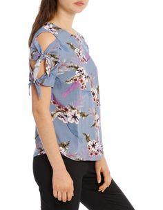 Piper: Top Printed Cold Shoulder Shirt Shop, Cold Shoulder, Floral Tops, Printed, Fabric, Sleeves, Closet, Shirts, Shopping