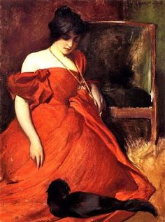 Study in Black and Red by John White Alexander (1856 - 1915) An American painter born in the coal country of Pennsylvania. He specialized in portraits, figures and decorative illustration.