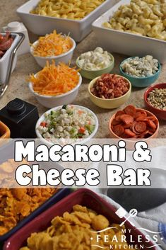 Whether you're having a lot of friends over to celebrate, or you're having a quiet night in with your family, make it more fun with this easy Macaroni and Cheese Bar! Your imagination is the only limit when it comes to toppings for mac & cheese. Cheese Bar, Cheese Platters, Cheese Fruit, Wine Cheese, Pasta Bar, Macaroni Cheese, Macaroni And Cheese, Cooking Macaroni, Party Food Bars