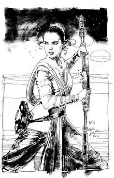 """travisellisor: """" Rey by Bill Sienkiewicz """""""