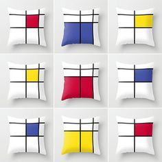 mondrian cushions cushion cover geometric cushion by GorgeousGD Piet Mondrian, Cushion Covers, Pillow Covers, Deco Design, Fabric Painting, Soft Furnishings, Bauhaus, Decorative Pillows, Decoration