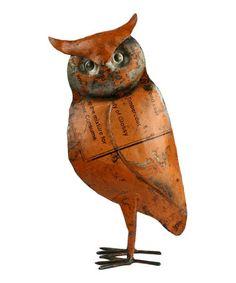 Look at this #zulilyfind! Reclaimed Metal Owl Figurine #zulilyfinds $22